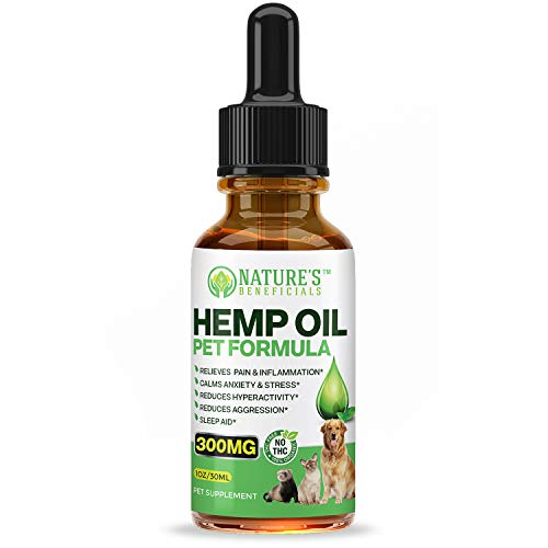 Premium Hemp Oil Extract Drops for Dogs, Cats, Horses, Pets 300MG - Organic Veterinarian-Grade Calming Anti-Anxiety-Aggression, Pain Relief, Hip & Joint Support, Sleep Aid, Non-GMO CO2 Extracted