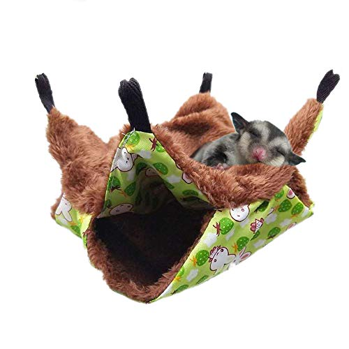 Oncpcare Pet Cage Hammock, Bunkbed Sugar Glider Hammock, Guinea Pig Cage Accessories Bedding, Warm Hammock for Small Animal Parrot Sugar Glider Ferret Squirrel Hamster Rat Playing Sleeping ()