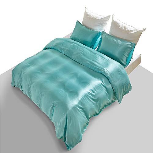 Silk Sheet Set Satin Bedding Duver Cover Set Comforter Turquoise Queen Size