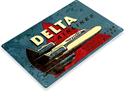 Tinworld TIN Sign B559 Delta Airlines Retro Commercial for sale  Delivered anywhere in USA