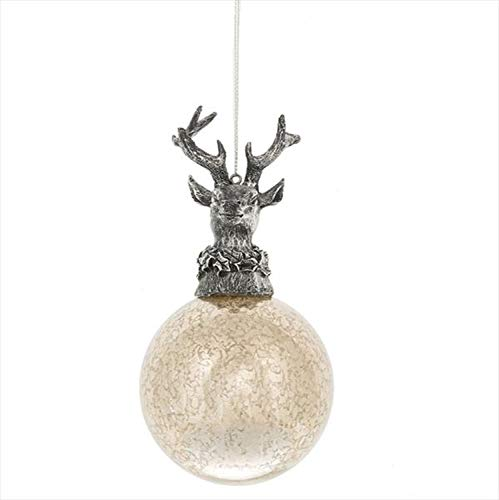 Midwest-CBK Deer On Ball Silver Toned 5 x 3 Glass and Resin Stone Christmas Ornament - Silver Resin Ball