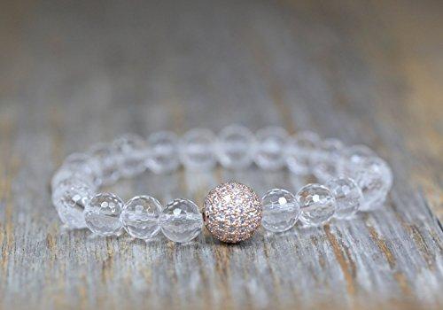 Pave Diamond Herkimer Quartz Crystal Gemstone Rose Gold Bracelet- 7