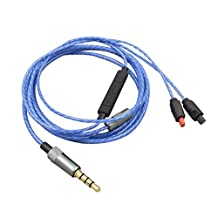Sqrmekoko OFC Upgrade Cable for Audio Technica ATH-IM50 IM70 IM01 IM02 IM03 IM04 Inline Mic Remote Audio Cord for iPhone Andriod Blue