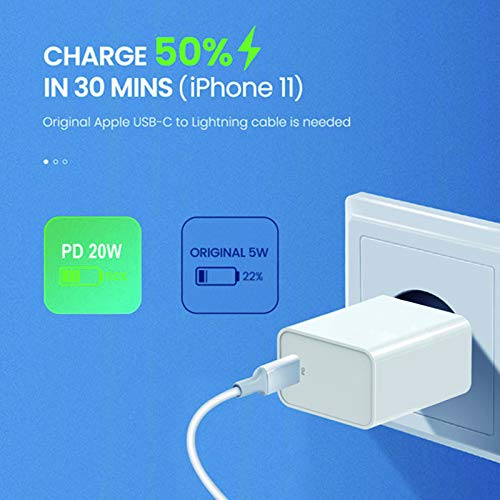 iPhone 12 Charger, 20W USB-C Power Fast PD USB C Wall Fast Charger Power Adapter Works with with iPhone 12, Mini, Pro, Pro Max, 11, SE, XR, XS, X, 8, iPad
