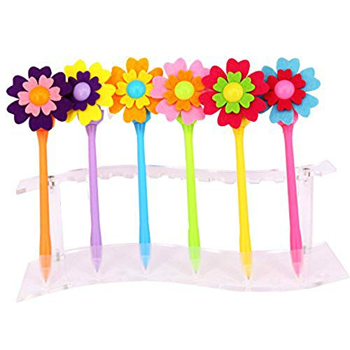 SunAngel Originality Fashion Designed Flower Windmill Pen,Cute Creative Stationery and Office Supplies, 0.7mm Black Ink (6PCS) -