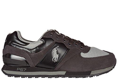 Ralph Lauren Scarpe Sneakers Uomo camoscio Nuove Grigio Grigio