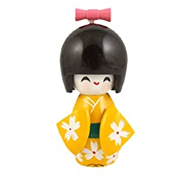 White Flowers Yellow Kimono Smiling Girl Wooden Kokeshi Doll