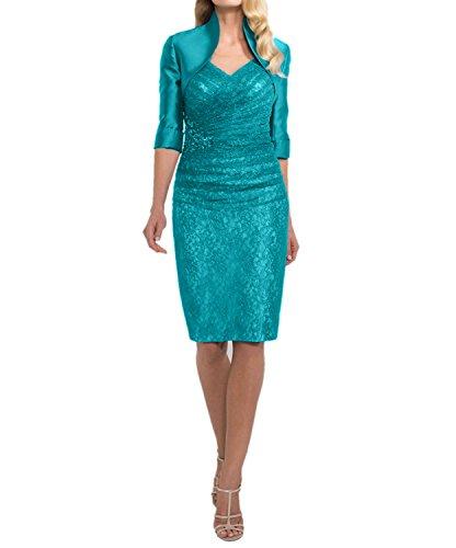 Damen Glamour Brautkleider Festlichkleider Abendkleider mit Langarm Brautmutterkleider Blau Spitze Tuerkis Charmant ZUxdwSfqU