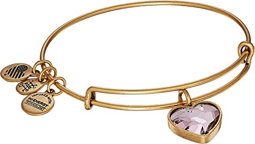 Price comparison product image Alex and Ani Women's Crystal Heart Pink Bracelet Rafaelian Gold One Size