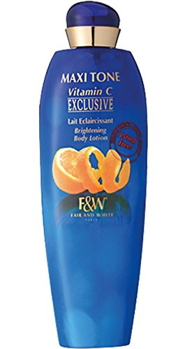 Fair & White Exclusive Maxi Tone Brightening Body Lotion with Vitamin C and 1.9% Hydroquinone, 400ml/13.53fl.oz. (Fair And White Maxi Tone Brightening Lotion)