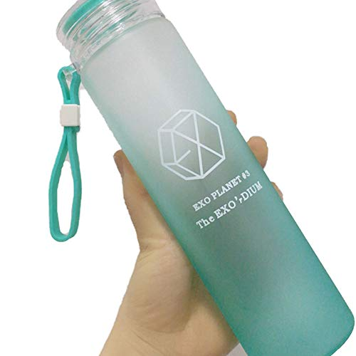 le 350ML - Star Glass Cup Healthy Cap with Silicon Loop Summer Girls Green ()