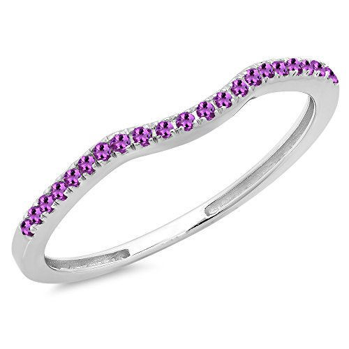 0.15 Carat (ctw) 10K Gold Round Amethyst Anniversary Ring Wedding Guard Band