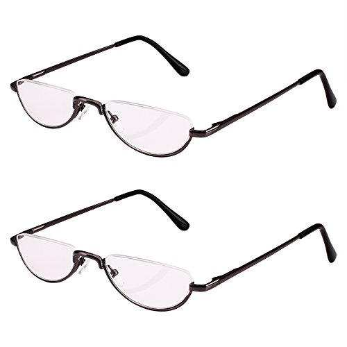Bestum 2 Pack Reading Glasses for Mens and Womens - Comfortable Metal Frame with Spring Hinge - Pack of 2 Readers (2 Pack Grey, - Glasses Half
