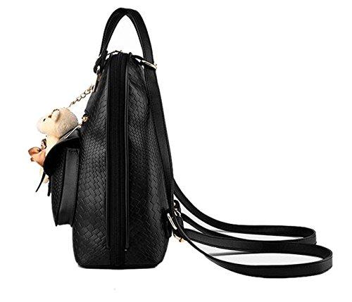 de jouet beginning en peluche Sac de loisirs en cuir l'ours femmes avec à noir Auspicious d'école pendentif dos zZdqZU