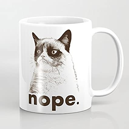 Grumpy Cat Nope Coffee Mugs Best Funny Gifts Sarcastic Mug Present 11oz Daughter Coffee Mug for Women Funny Coffee Mugs Ceramic Gift Coffee Tea Cocoa Coffee Cup 11 OZ by Dikoum