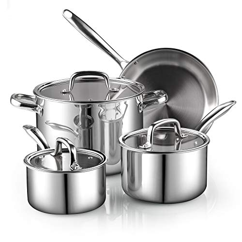 Cook N Home 02644 7-Piece Tri-Ply Clad Stainless Steel Cookware Set, Silver