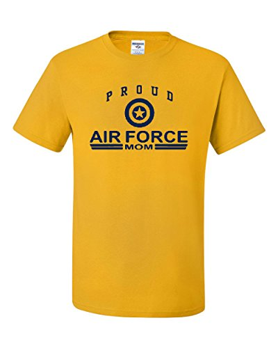 Proud Air Force Mom T-Shirt US Air Force USAF Tee Shirt Yellow (Troops Yellow T-shirt)