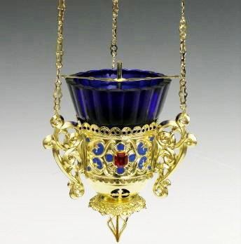 Gold Tone 3 Chain Russian Hanging Vigil Sanctuary Oil Votive Lamp with Blue Glass 26 1/2 Inch - Russian Lamp