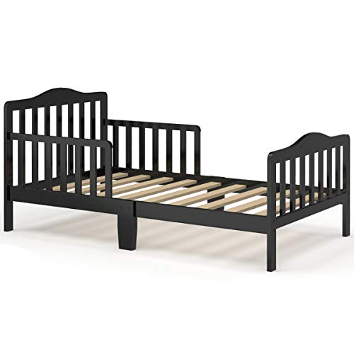 HONEY JOY Toddler Bed Frame, Solid Rubber Wood Frame w/Safety Guardrail, Fits Crib Full Size Mattress (Not Included), Children Classic Sleeping Bedroom Furniture for Kids Boys Girls (Black)