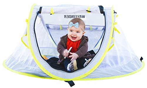 Travel Baby Cribs (WAYFINDER USA TravelTot, Baby Travel Tent Portable Baby Travel Bed Indoor & Outdoor Travel Crib Baby Beach Tent UPF 50+ UV Protection w/ Mosquito Net and 2 Pegs)