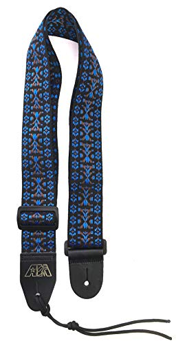 (Guitar Strap BLACK BLUE BROWN WOVEN Nylon Solid Leather Ends Fits All Acoustic Electric & Bass & Mandolin Quality Made In U.S.A. Since 1978)