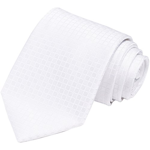 KissTies Mens 63'' White XL Tie Solid Checker Wedding Necktie + Gift - Box Checker
