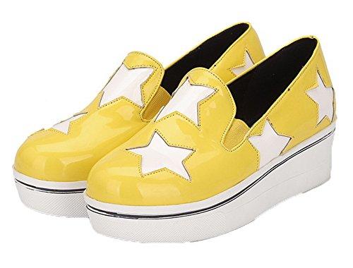 Amoonyfashion Dames Ronde Neus Katoenen Hakken Diverse Kleur Pull-on Pumps-schoenen Geel