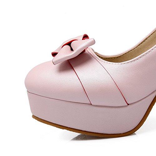 AllhqFashion Damen Schnalle PU Leder Rund Zehe Hoher Absatz Rein Pumps Schuhe Pink