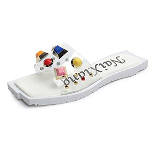 Plate Anti Coloré extérieure Sandales Clear Flat Chaussures Designer Square Slip Forme JITIAN Blanc Sandales Toe Femmes Mode 4xq0X8