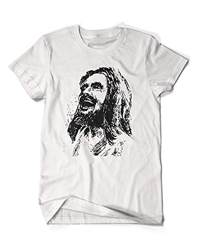 Hoosand Funny Mens Laughing Jesus T-Shirt Short-Sleeve Christian ()