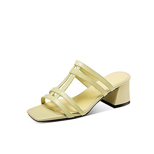 Pie Femeninos De con Sandalias Dedo Moda Grueso del Jóvenes YUBIN Femenina Perezosos Mujeres Romanas Hueca Nuevas Zapatos Usan Abierta Verano Medias Femenino Zapatillas Xq4HBxfC4w
