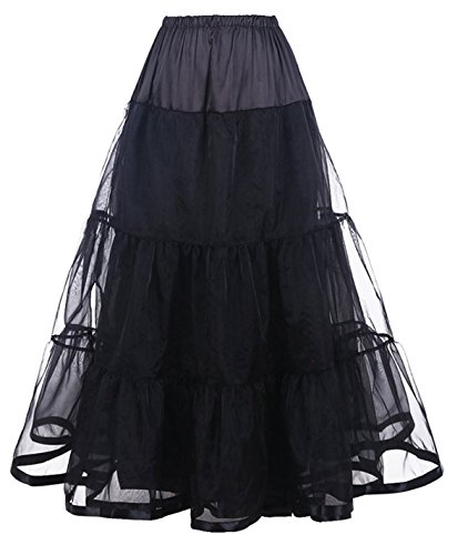 Petticoat Long Petticoats Aline Tulle Skirts for Wedding Dress (L/XL, Black)