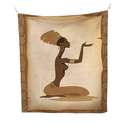 - African Womanbeach Tapestry Wall hangingAncient Folk Art Element Frame Native Lady Hand Gesture Tribal Antique 70W x 93L inch Dorm Room tapestryBrown Light Brown