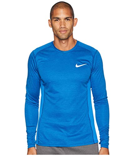 NIKE Men's Dry Miler Running Top (Large, Signal Blue/Heather)