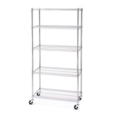 Seville Classics UltraZinc 5-Shelf NSF Wire Shelving Rack with Wheels, 18 x 36 x 72