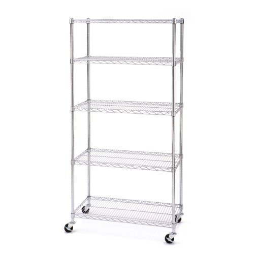 Seville Classics 5-Tier UltraZinc NSF Steel Wire Shelving /w Wheels, 18