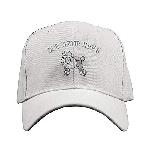 (Custom Baseball Hat Poodle White Embroidery Dog Name Acrylic Structured Cap Hook & Loop - White, Personalized Text)
