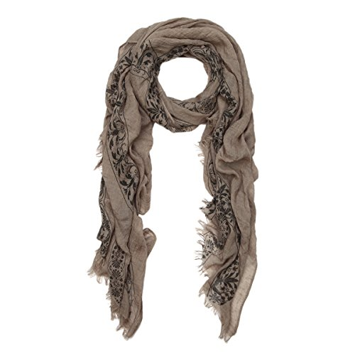 Elegant Viscose Cross Floral Frayed End Scarf Wrap, Taupe ()