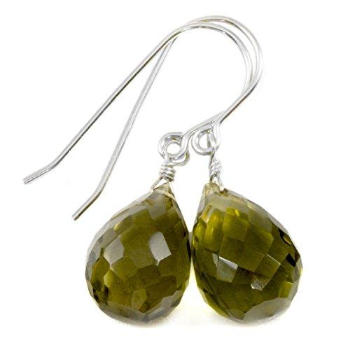 Olive Quartz Earrings - Sterling Silver Olive Green Quartz Earrings Faceted Briolette Fat Teardrop Simple Drops