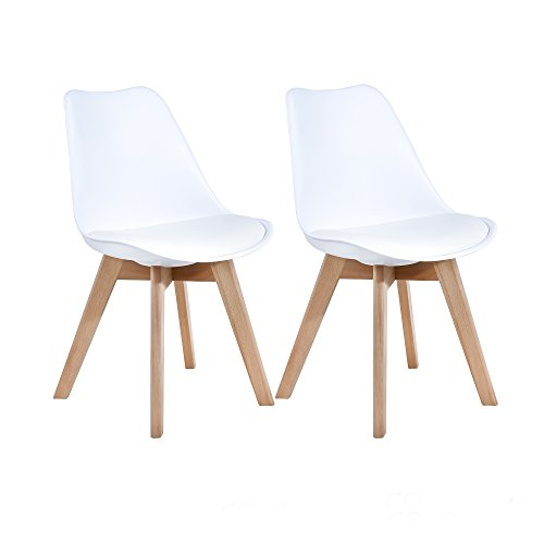 LSSBOUGHT Set of 2 Eames-Style Soft Padded Seat Dining Chairs with Solid Wooden Legs (White)