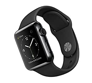"Apple Watch 38 mm - Smartwatch iOS con caja de acero inoxidable en negro espacial (pantalla 1.32"", 8 GB, 520 MHz, 512 MB RAM), correa deportiva negra (modelo 2015)"
