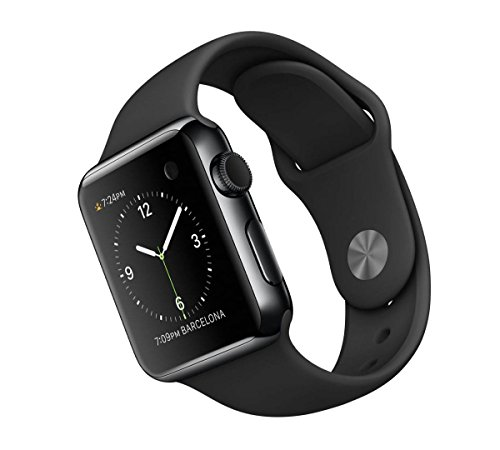 Apple Watch 38 mm - Smartwatch iOS con caja de acero inoxidable en negro espacial (pantalla 1.32