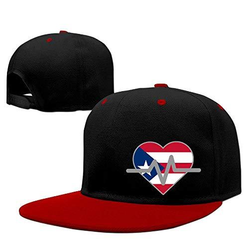 (Adult Unisex Funny Print Hip Hop Heartbeat Love Puerto Rico Pulse Line Flat Brim Driver Hats)