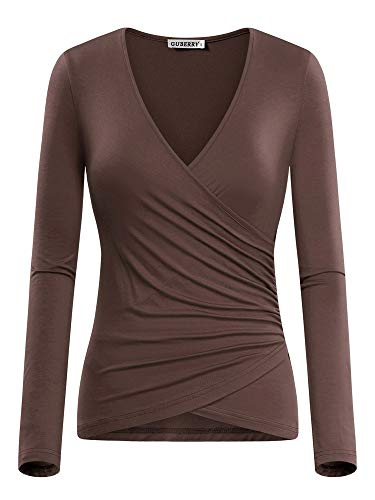 (GUBERRY Women's V Neck Top Unique Wrap Front Drape Long Sleeve Fitted Shirt Chocolate )