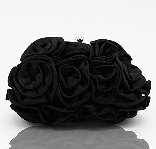 à Demoiselle D'honneur noir Élégant D'embrayage Fleur main Femme Soir Sac Nuptiale Sac vvZqXzw