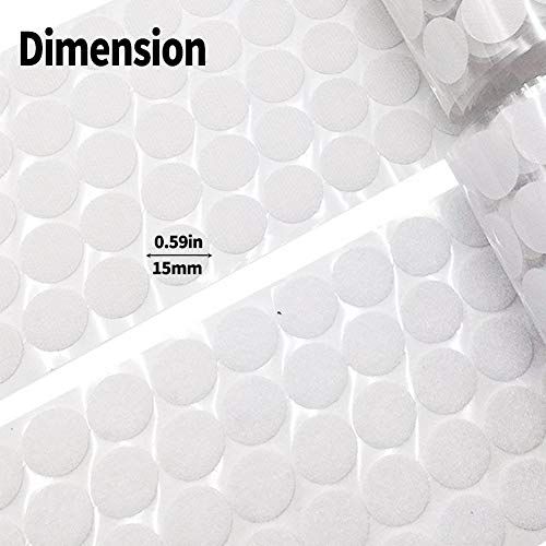 Large Product Image of 1000 Pieces Adhesive (500 Pair Sets) 0.59in Diameter Sticky Back Coins Hook & Loop Self Adhesive Dots Tapes Magic Sticky Dots 15mm White (15mm D White)