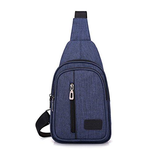 MINGMO Bolso De La Honda Mochila De Hombro En El Pecho Paquetes De Triángulo Cruzado para Hombres Mujeres Tela Oxford Ligero Excursionismo Viajar Daypack,Black Blue