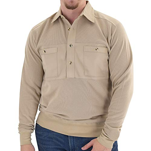 Mens Long Sleeve Solid Knit Banded Bottom Shirt with Woven Chest Panel 6042-22N (M, Heather TAN)