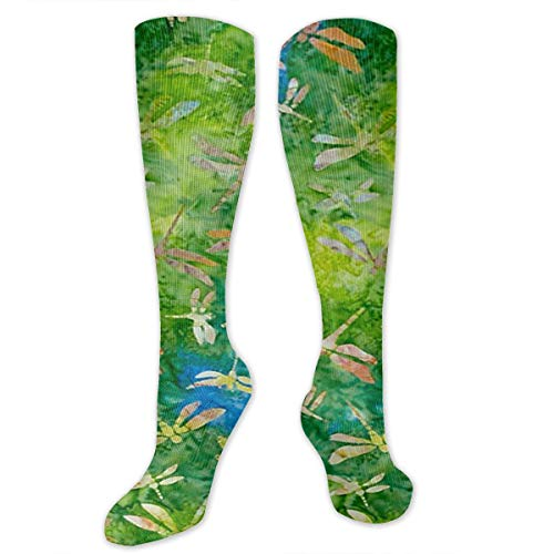 - Indonesian Batik Dragonfly Green Outer Space Infinity Galaxy Universe Printed Men's/Women's Comfortable Casual Funny Long Knee High Socks Compression Socks Winter Warm Soccer Socks