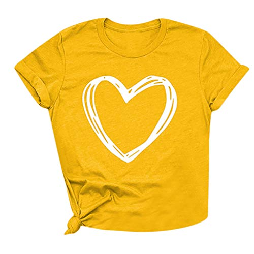 TWGONE Graphic Tees for Women Summer Heart Print Tops Short Sleeve T-Shirts Blouse(Large,Yellow-2)